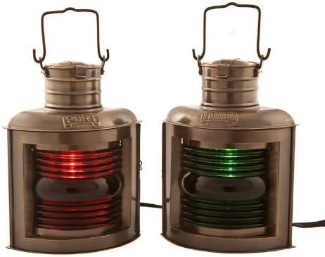 Vermont Lanterns Brass Port Starboard Electric Lamps – Nautical Decor 11 , Antique Brass