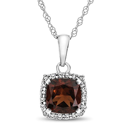 10k White Gold 6mm Cushion Garnet with White Topaz accent stones Halo Pendant Necklace (Cushion Garnet Necklace)