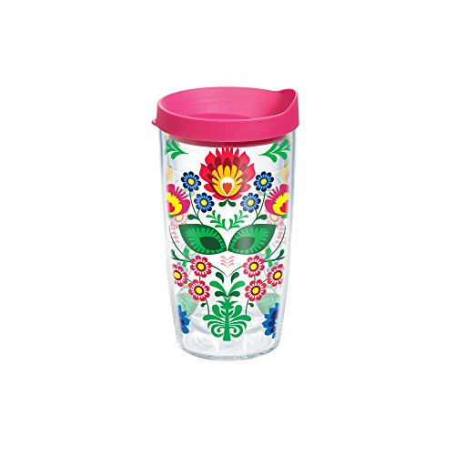 Tervis Folk Heritage Tumbler with Travel Lid, 16 oz, Clear