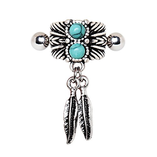 316L Stainless Steel Cartilage Earring with Synthetic Turquoise Stone and Feather Dangles | 16 GA