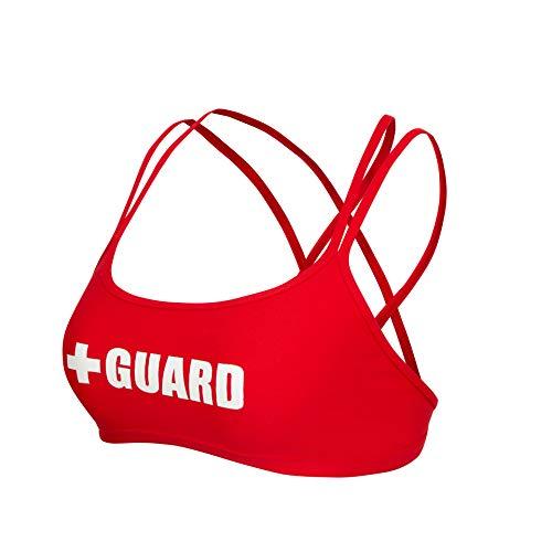 Guard Double Cross Bikini Top (Red, Large) -