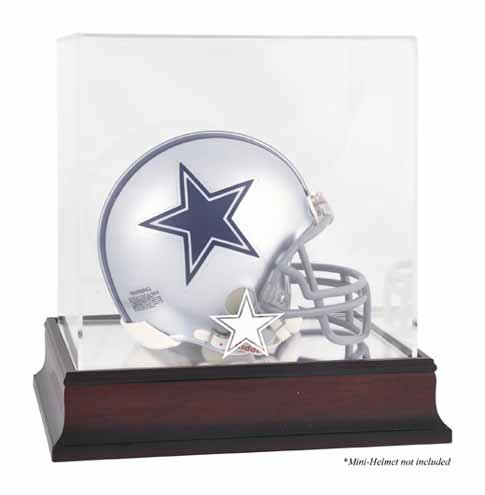 Dallas Cowboys Mahogany Mini Helmet Logo Display Case ()