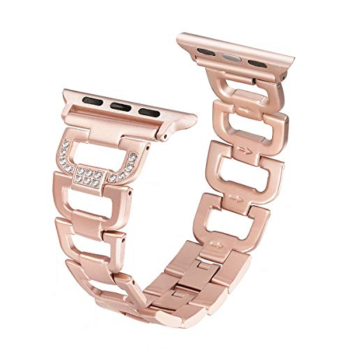 Secbolt Bling Band Compatible Apple Watch Band 42mm 44mm iWatch Series 4, Series 3, Series 2, Series 1, Diamond Rhinestone Stainless Steel Metal Wristband Strap, Gold