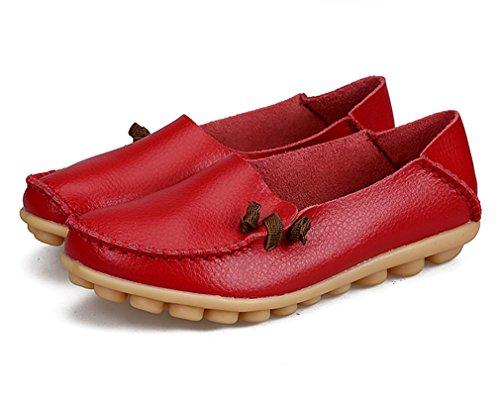 sólido de ocasionales Mocasines Calzado cuero Red 3 Mujer de Bridfa conducción Zapato de la genuino 5 Zapatos Pisos madre barco de de mujeres de mujer czgcB8vO1w