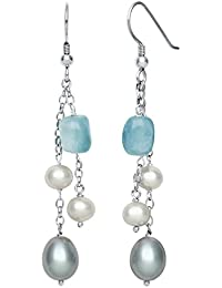 Sterling Silver Cultured Freshwater Pearl and Milky Aquamarine Dangle Drop Earrings