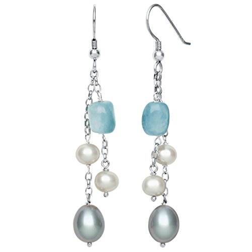 - Sterling Silver Cultured Freshwater Pearl and Milky Aquamarine Dangle Drop Earrings