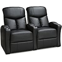 Seatcraft Raleigh Home Theater Seating Manual Recline Leather Gel (Row of 2, Black)