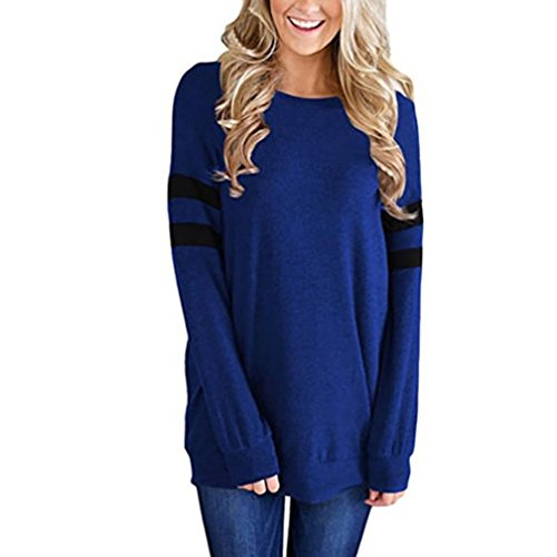 Femme Longue Col Top Ample Chic Solide T Blouse Bleu Rayures Fille Shirts Sweat O Angelof cYyFqndvwY