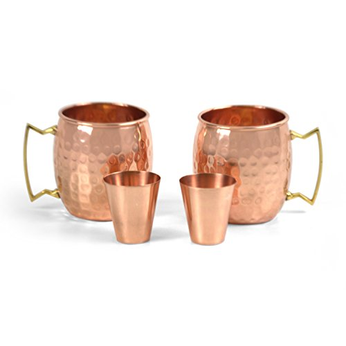 Owl Creek Handmade Moscow Mule 100% Copper Mugs Set of Two 18 oz Hammered Cups With Two Bonus 2 oz Copper Shot Glasses