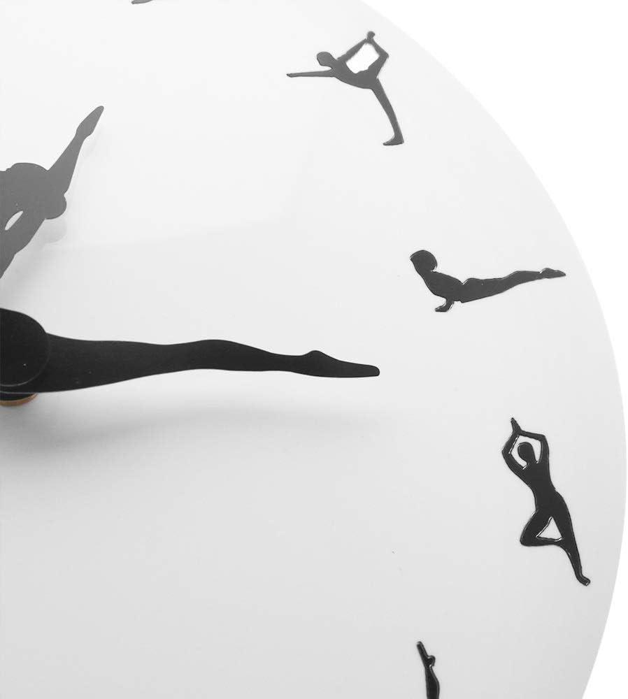 XINTANG Pendules murales Yoga Postures Horloge Murale Gym Fitness Flexible Fille Silencieuse Horloge Moderne Montre Home Decor M/éditation D/écor Yoga Studio Relax Cadeau