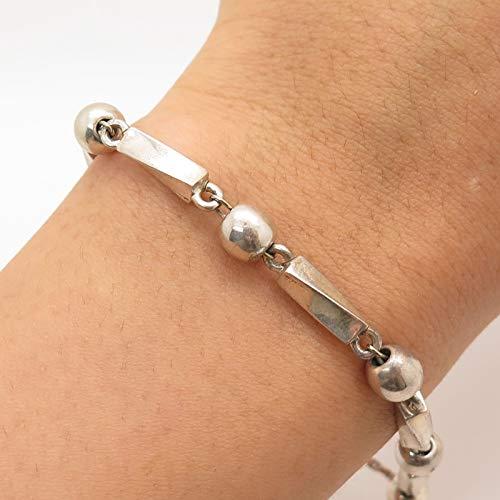 VTG Mexico 925 Silver Bead by The Yard Modernist Tribal Bracelet 6