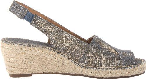 Clarks Womens Petrina Rhea Espadrillas Sandal Navy Tessuto Di Lino