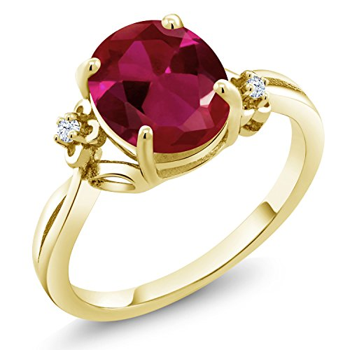2.53 Ct Oval Red Created Ruby 18K Yellow Gold Plated Silver Ring (Size ()