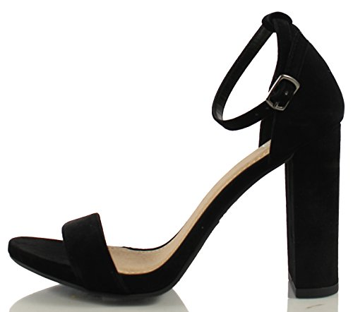 Women's Shiner Delicious Chunky Black Heel Open Strap Toe Block Ankle ORxxqnP7