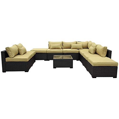 VALITA Patio PE Wicker Furniture Set 10 Pieces Outdoor Black Rattan Sectional Conversation Chair Sofa with Olive Green Cushions (Sale On Furniture Sectional Patio)