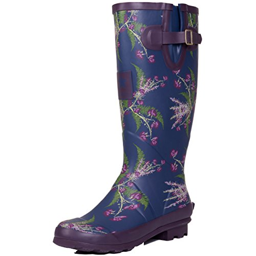Buckle Rain Adjustable IGLOO Welly SPYLOVEBUY Women's Flat Flower Blue Boots 6qgvZ