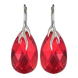 Crystal Diva Women's Silver Red Swarovski Elements Earrings