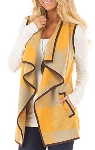 Mantener de Sin Caliente Mangas Mujer Chaqueta Caqui Abrigo Lana Chalecos Coat Chaleco amarillo Para Cardigan znHPx0Pq