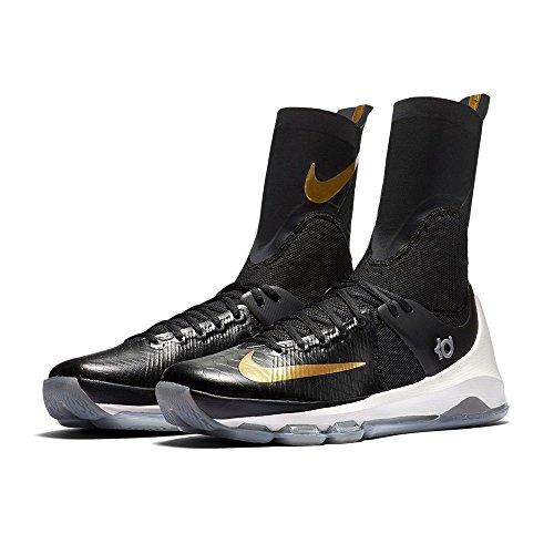 Nike KD 8 Elite Mens Hi Top Basketball Trainers 834185 Sneakers Shoes (10.5 B(M) US, black metallic sail 071) (Gold And Black Nike Elite Socks)