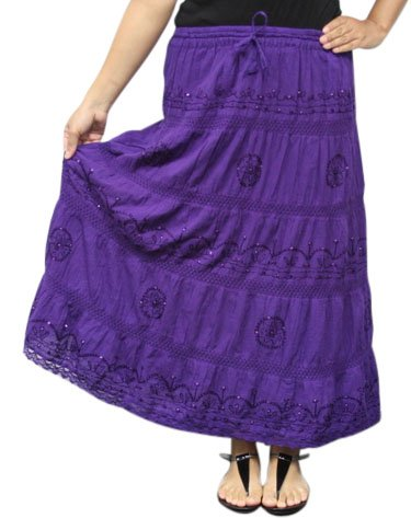 LSS6 Purple LONG SOLID Ethnic Womens Peasant Bohemian Gypsy Full Length Skirt - Lined One Size Fits Most by BombayFashions (Image #3)