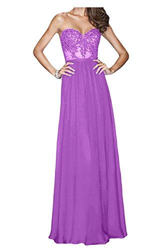 Lang Abendkleider La Damen Braut mia Blau Flieder Cocktailkleider Chiffon Herzausschnitt Partykleider Brautjungfernkleider wnxTvxYW