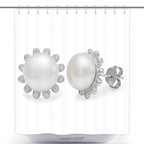 (vanfan-Durable Shower Curtains Close up On Elegant Pearl Diamond Stud Earrings Over White Background Slight Set Down Polyester Bathroom Shower Curtain Set Hooks(36 x 72)