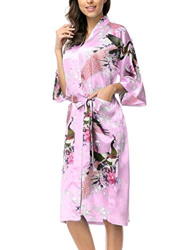 (CHENXI Ladies Silk Satin Long Kimono Robe Lovely Flower Printed, Pink S)