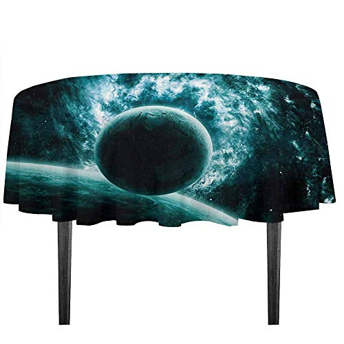 kangkaishi Space Easy Care Leakproof and Durable Tablecloth Solar System Landscape with a Planet in Vast Motion UFO Asteroid Mystic Orbit View Print Outdoor Picnic D59.05 Inch Teal ()