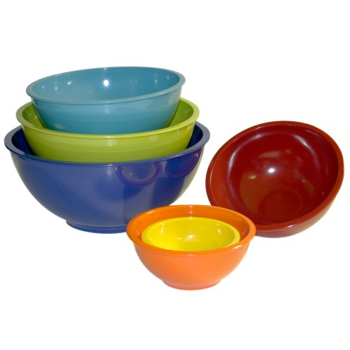 Image of Trudeau Melamine Mixing Bowls in Assorted Bright Colors, Set of 6