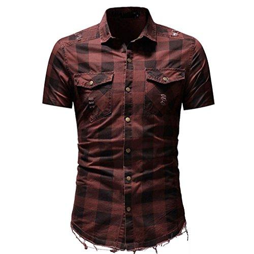 - Sagton® T-Shirt for Mens, Men's Slim Fit Button Plaid Shirt with Pocket Short Sleeve (M, Red)