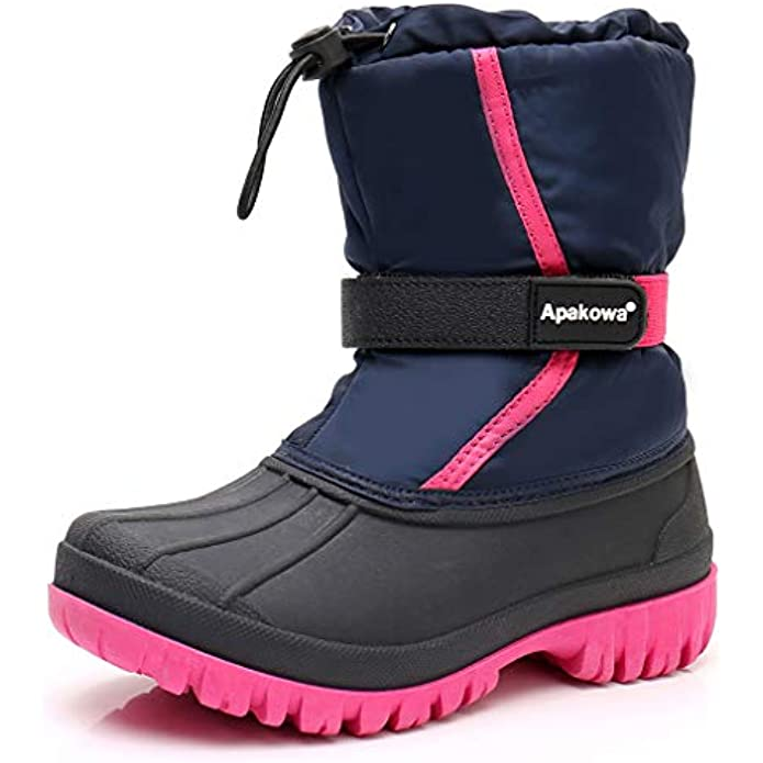 Apakowa Boys Girls Insulated Waterproof Winter Warm Snow Boots (Little Kid/Big kid)
