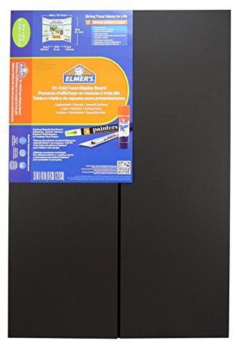 Elmer's Premium Tri-Fold Foam Display Board, 36 x 48 Inches, Black, Single Board (902091)