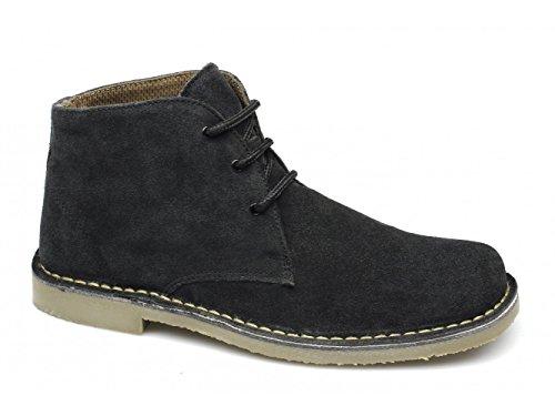 Roamer Men's Classic Suede Desert Boots Lace UpsM378 Black As