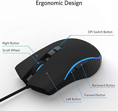 FIODIO Wired Gaming Mouse, 4 RGB LED Backlight Modes Computer Gaming Mice with 4 Levels Adjustable DPI up to 2400, Comfortable Ergonomic Optical PC Laptop MacBook Gamer Mouse for Windows 7/8.1/10 41fwXSBL ML