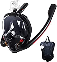 HJKB Full Face Snorkel Mask with Anti-Fog Wipes, 180 Degree Panoramic HD View Snorkeling Mask, Anti-Leak Dry T
