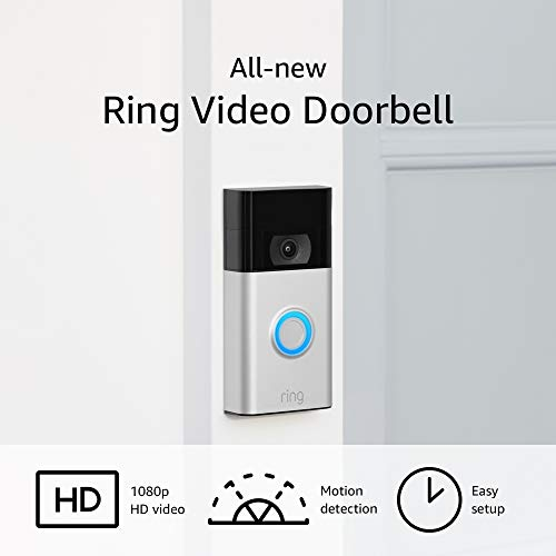 All-new Ring Video Doorbell – 1080p HD video, improved motion detection, easy installation – Satin Nickel (2020 release)