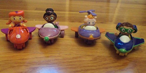 (Set of 4 2009 Super Why Airplanes Wyatt, Princess Presto, Alpha Pig & Wonder Red )