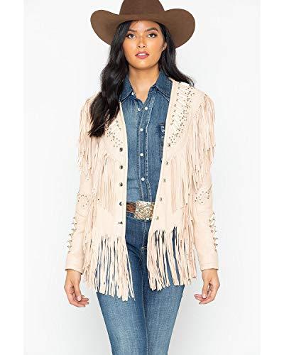 Liberty Wear Women's Studded Fringed Leather Jacket Cream X-Large