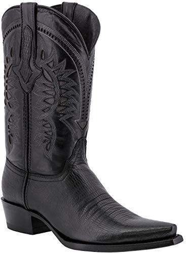 Texas Legacy - Mens Black Lizard Western Wear Cowboy Boots Pattern Leather Snip Toe 9 D(M) ()