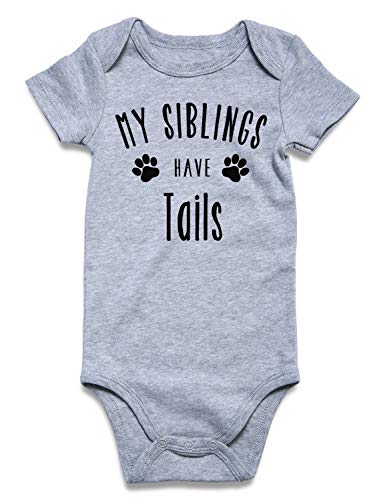 BFUSTYLE Child Baby Boy Girl Unisex Announcement Onesie My Siblings Have Tails Print Short Sleeve Winter Pregnancy Reveal Romper Shower Gift Pure Gray Bodysuit Bulk Newborn 0-3 Months