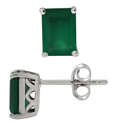 19ct-Natural-Emerald-Green-Agate-925-Sterling-Silver-StudPost-Earrings