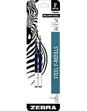 Zebra F-Series Ballpoint Stainless Steel Pen Refill, Fine Point, 0.7mm, Blue Ink, 2-Count