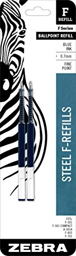 Zebra F-Series Ballpoint Stainless Steel Pen Refill, Fine Point, 0.7mm, Blue Ink, 2-Count
