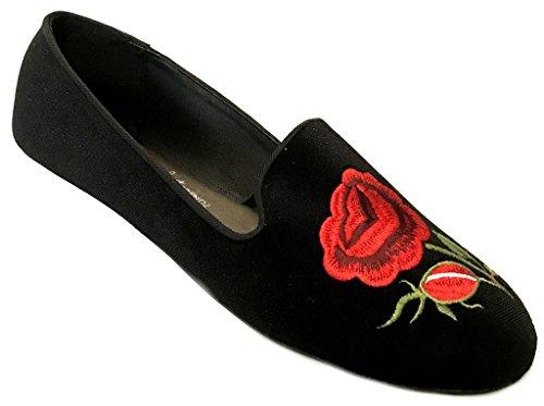 Schoenen 18 Damesroze Geborduurde Smoking Ballet Micro Suede Flats Zwarte Roos