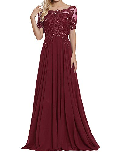 Chiffon Formal Dresses Scoop Neck Mother of The Bride Dress Evening Gowns Burgundy US14 (Images Of Mother Of The Bride Dresses)