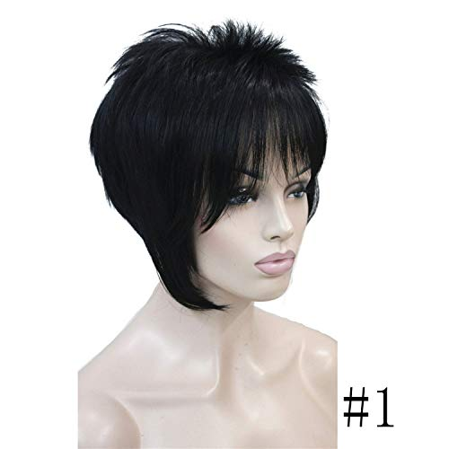 - Women's Wigs Asymmetric Inclined Bangs Short Straight Bob Natural Full Wig 4 Color,#1,6inches