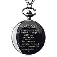 Pocket Watch to My Husband Love Forever Necklace Chain from Wife to Husband Boyfriend for Him Surprise Gifts for Men with Black Gift Box