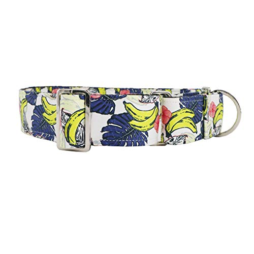 T.A.Bird Escape Proof Martingale Collar for Dog-Adjustable-Nylon-Strong and Comfortable-Ideal for Trainng-New Summer Banana Pattern Dog Collar(L)