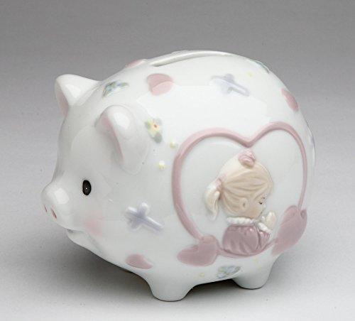 (Cosmos Gifts 2036 Fine Porcelain Inspirational Praying Girl Piggy Bank, 4.25