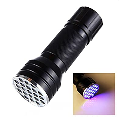 Willsa Portable 21 LED 395 nM UV Ultra Violet Flashlight for Indoor & Outdoor Uses